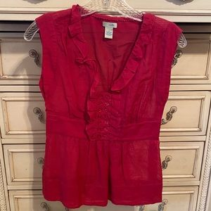 Anthropologie | Red Ruffle Cotton Silk Blouse Top